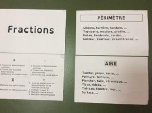 Images de papiers sur le mur de mots avec des mots relevant aux franctions, l'aire et le périmètre