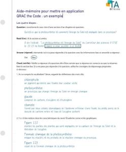 Image de la feuille QRAC the Code : un exemple