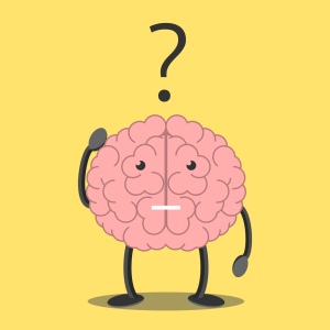 Confused brain character scratching head in bewilderment and question mark