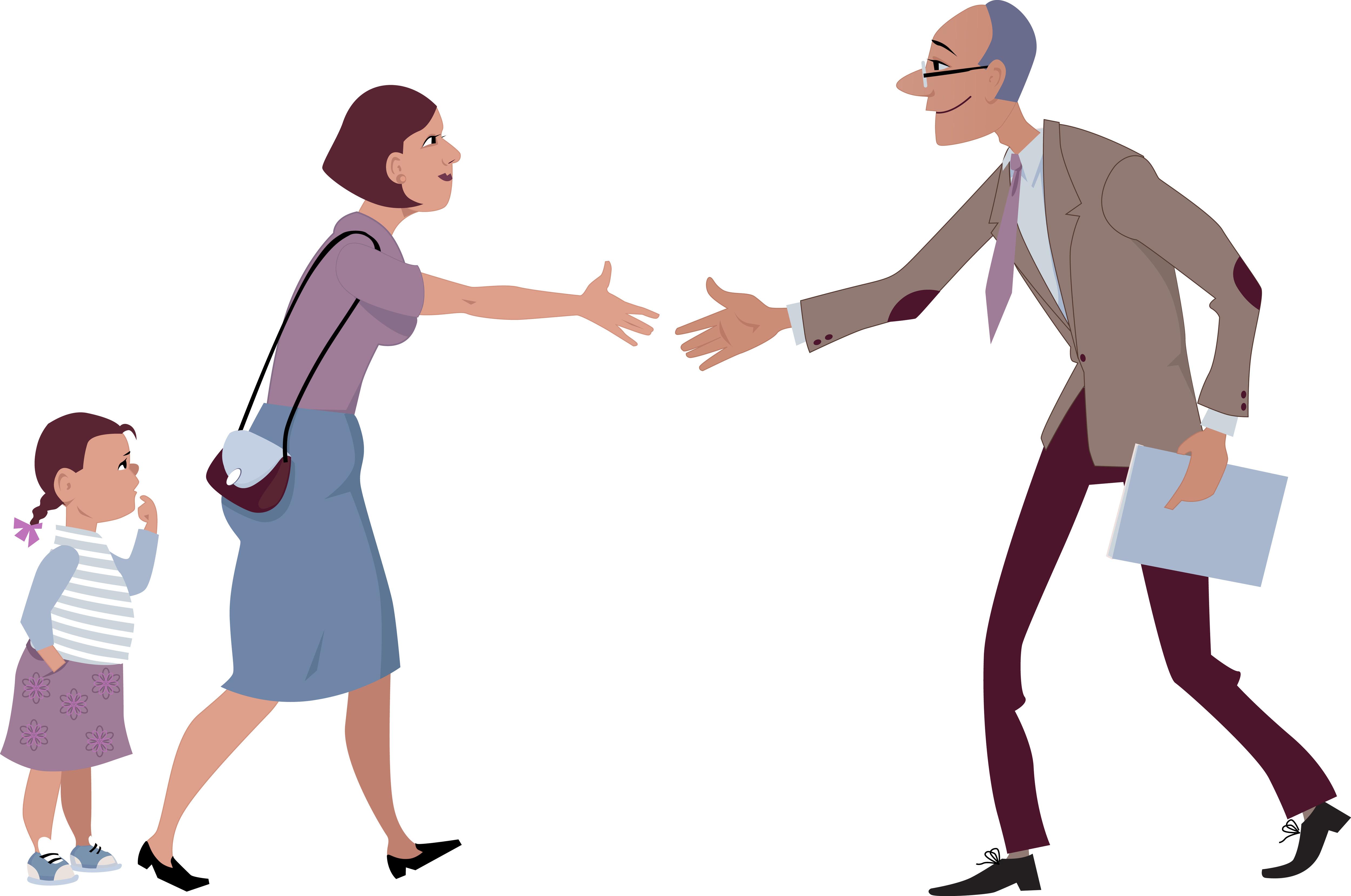 Parent et enseignant qui se serrent les mains