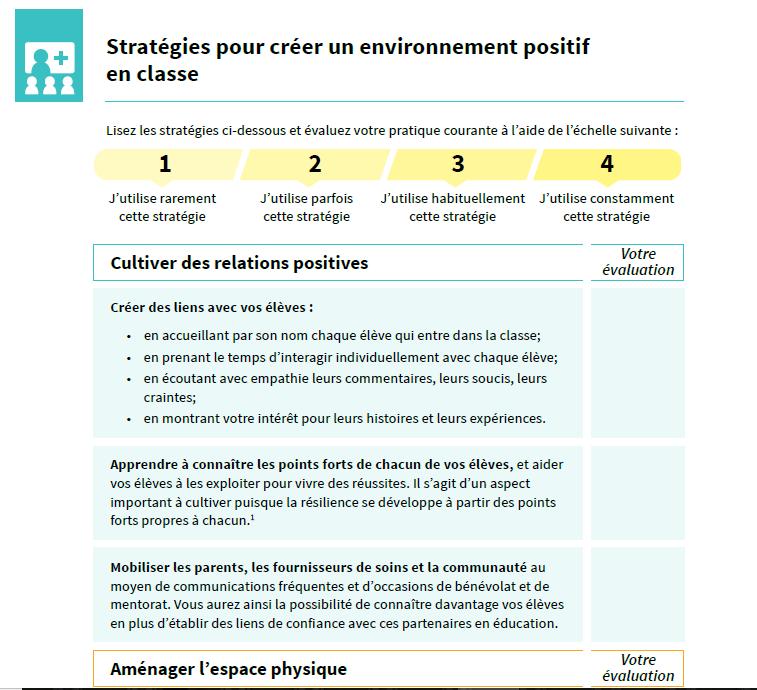 Aperçu du document Stratégies pour créer un environnement positif en classe