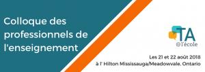 Colloque des professionnels de l'enseignement et le logo de TA@l'école