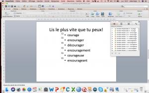 Capture d'écran du montage de la diaporama pour l'identification des mots avec le logiciel Powerpoint.