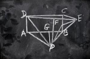 dessin mathématique sur tableau noir