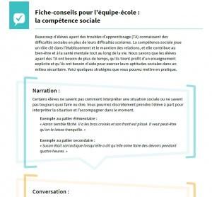 Image du PDF: Fiche-conseils pour l'équipe-école : la compétence sociale